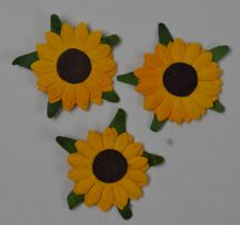 2 LAYER YELLOW SUNFLOWERS (2cm) Mulbery Paper Flowers miniature card wedding